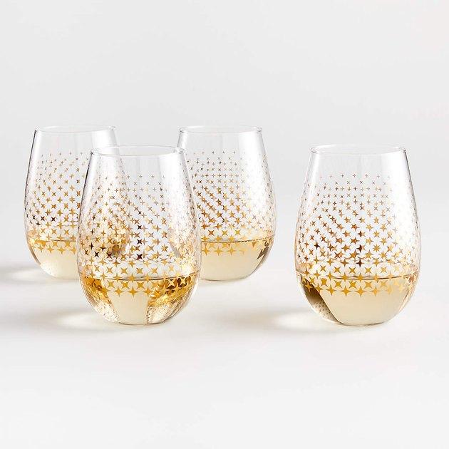 sparkle dot wine glasses