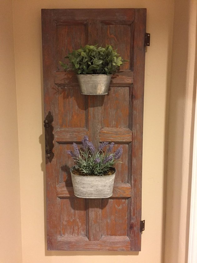Wood cabinet door with two galvanized planters