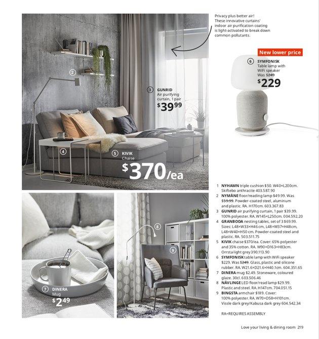 ikea catalog showing gray chaise, mug, lamp, and armchair
