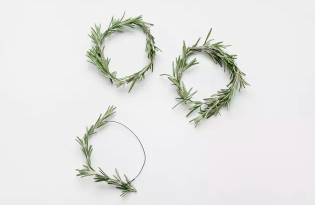 Mini wreaths made from rosemary