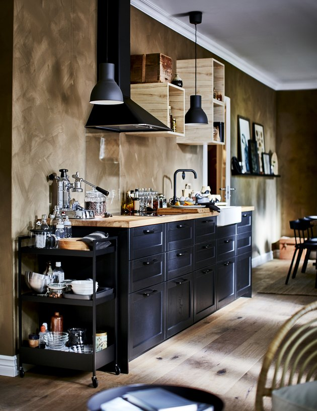 kitchen area with brown walls