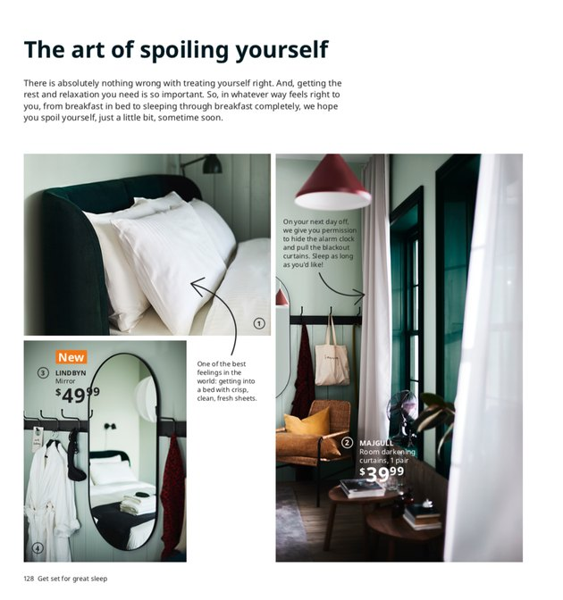 ikea 2021 catalog showing bedroom with light mint green walls