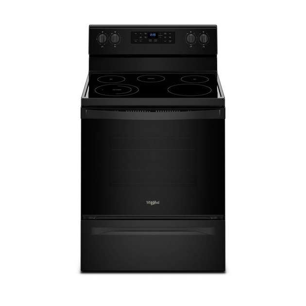 Black glass top electric stove with smooth cooktop