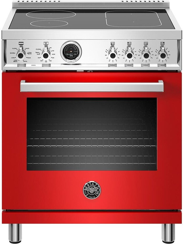 Red vintage-inspired glass top electric stove with smooth cooktop