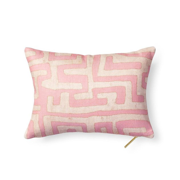 sustainable home decor with pink kuba cloth pillow