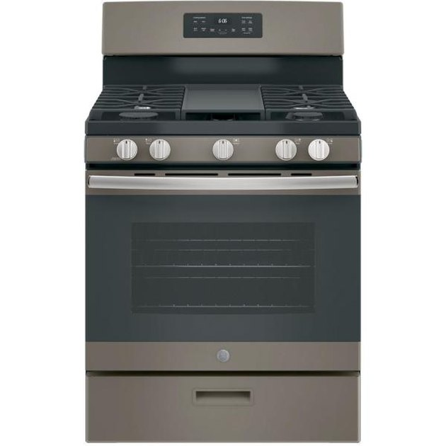 Slate small gas stove with stainless steel details and grates