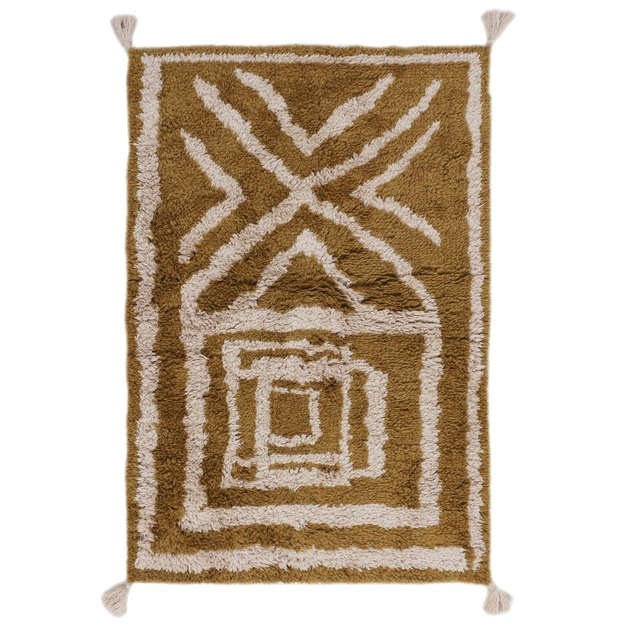Yellow and white shaggy eco-friendly rug with modern design