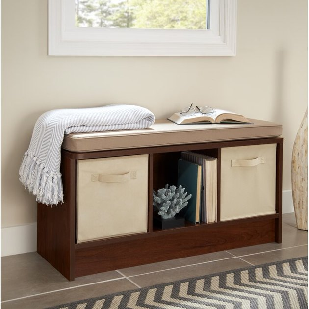 shoe storage bench open compartments