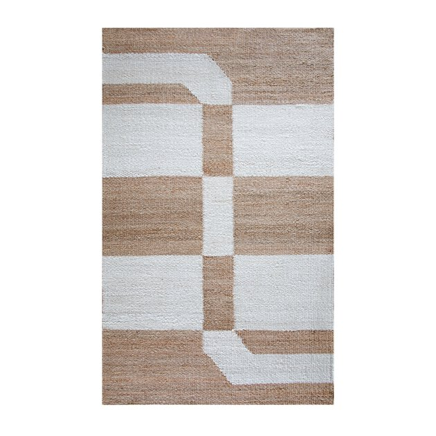Cream and white eco-friendly rug with geometric design in jute