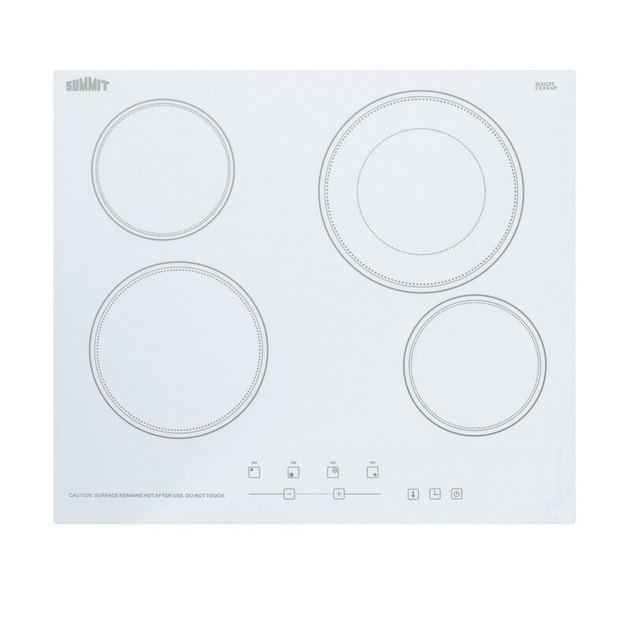 white ceramic stovetop with four burners from Summit Appliance