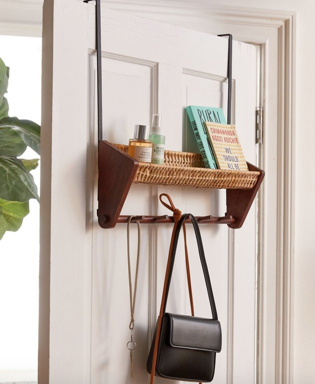 Over the Door Storage with Wicker over the door shelf and hanger.