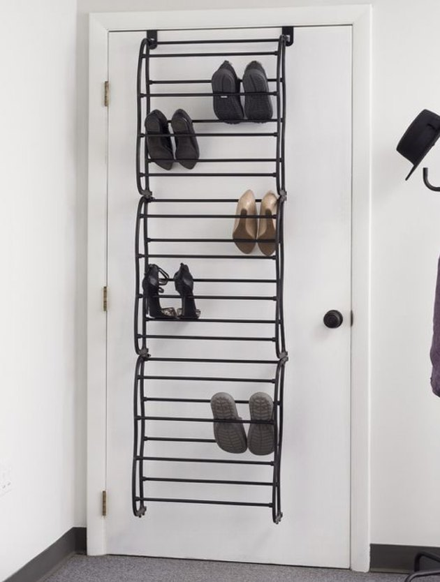 Over the Door Storage with Black metal over the door shoe storage rack.