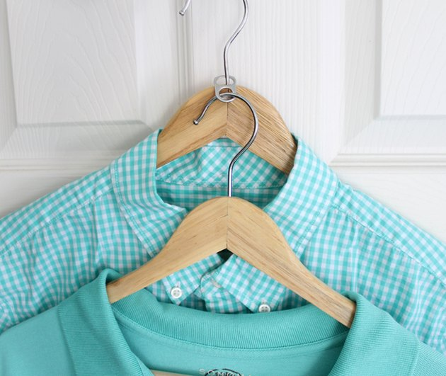DIY Closet Organizer Ideas with two clothing hangers with soda tab