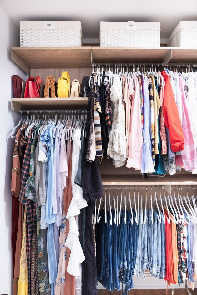 DIY Closet Organizer Ideas in closet with clothes organized by color