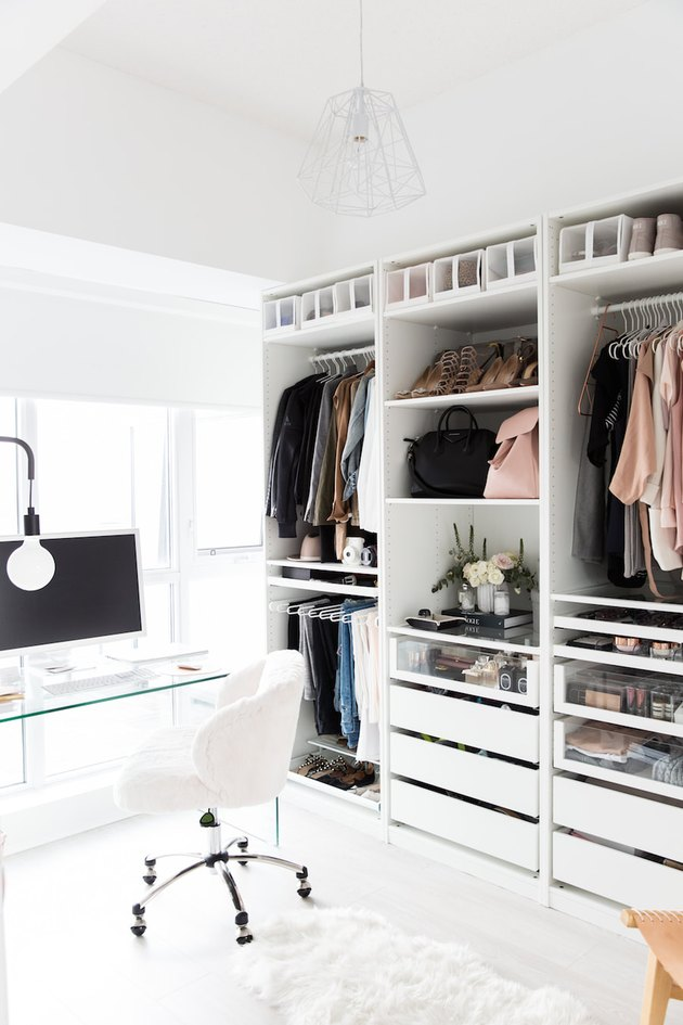 DIY Closet Organizer Ideas in minimal closet with office space