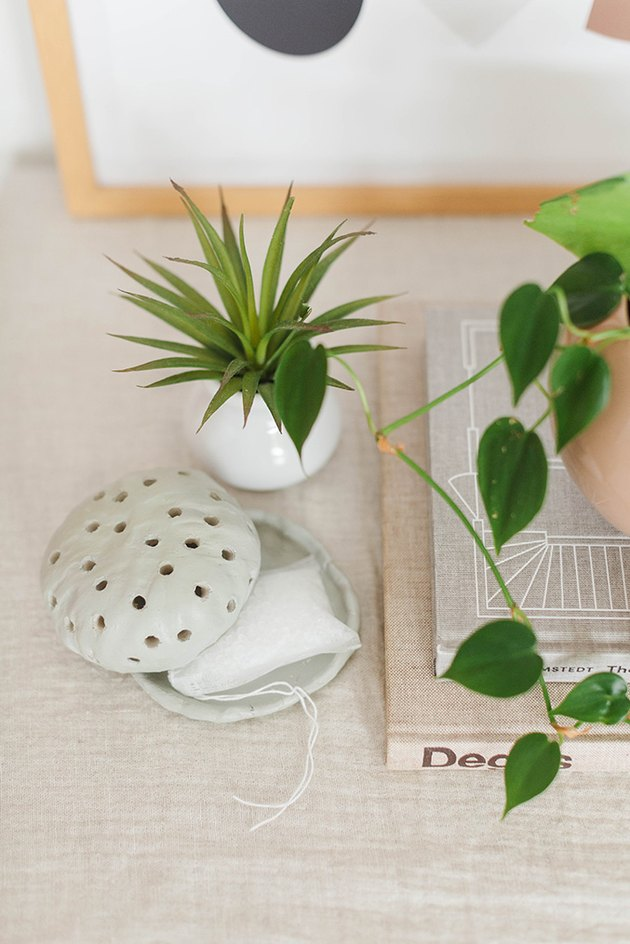 Air-dry clay diffuser on shelf with plants and boks
