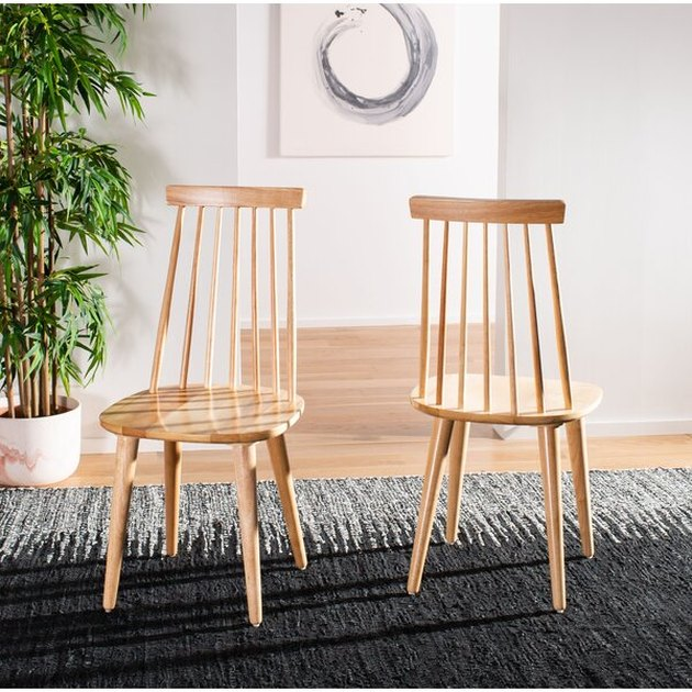 natural wood dining chair set