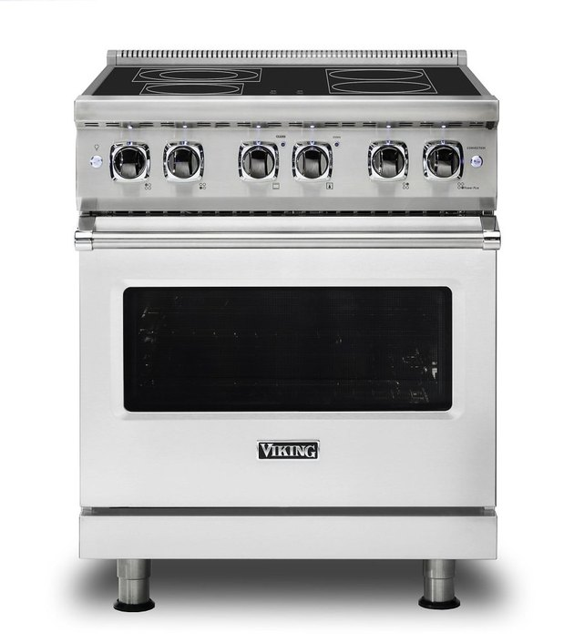 Viking flat top electric stove in stainless steel