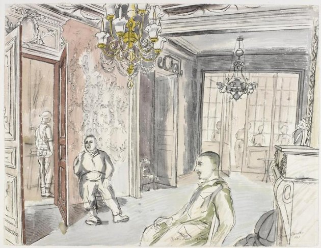 """The Officers' Mess, 5th Manchesters, Halluin"" by artist Edward Bawden"