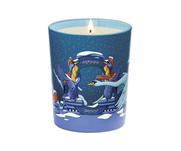 blue candle with illustrations