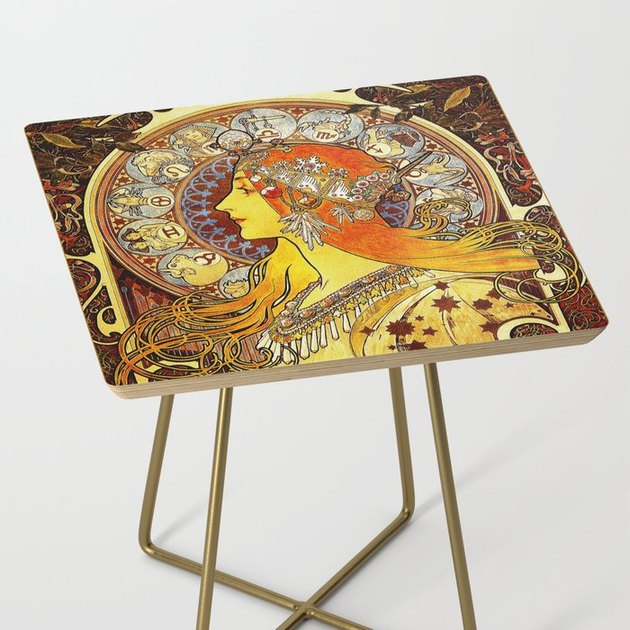 Square zodiac side table with gold legs