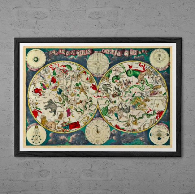 Black-Framed Moon Phases Print Horoscope art Zodiac Print Astrology Art