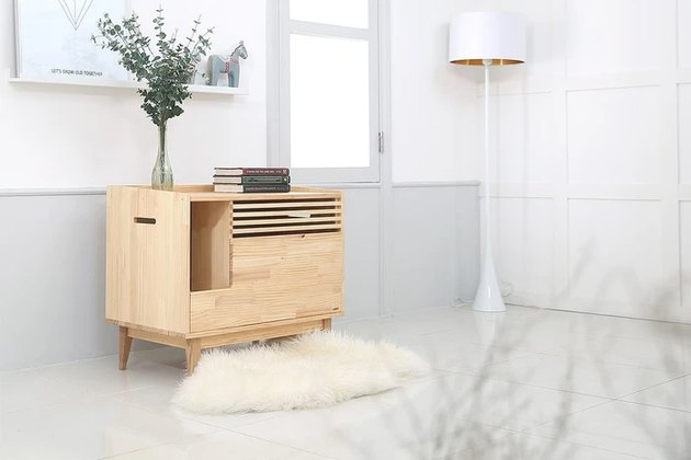 modern litter box in living room space
