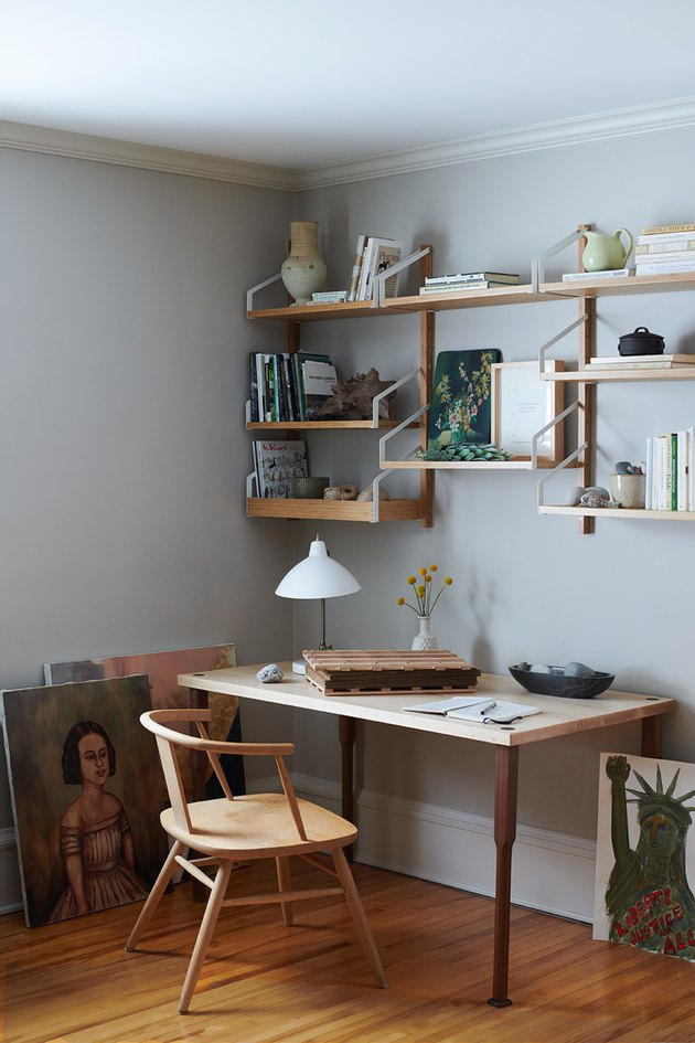 Desk Organization Ideas with Open shelving organizes a home office desk designed by Prospect Refuge Studio