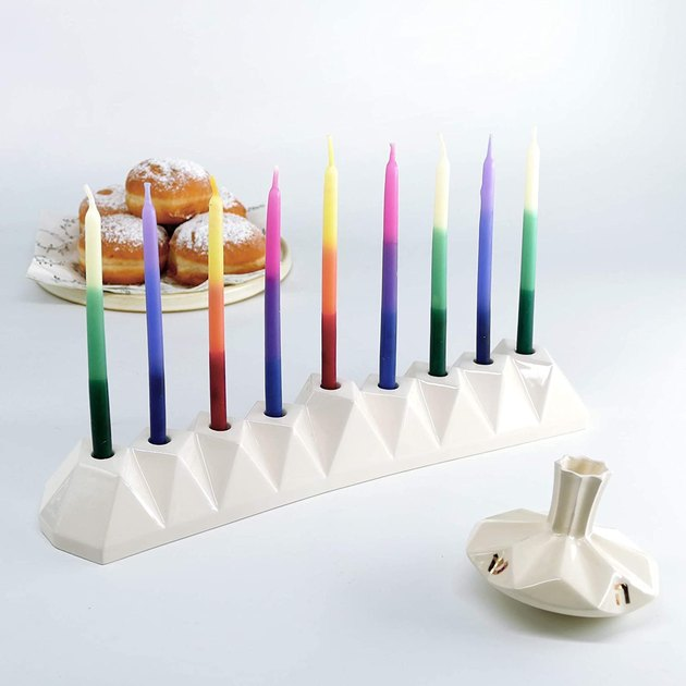 modern white ceramic menorah