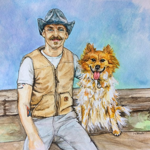 Watercolor of man with dog