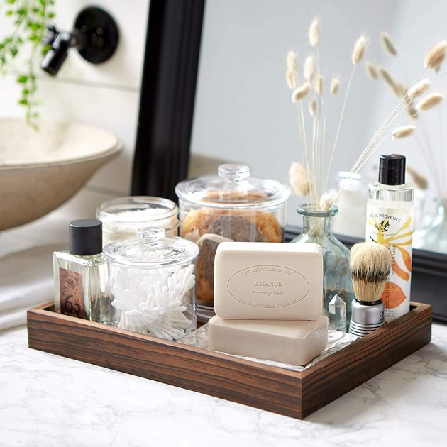 bathroom cart with soap and other toiletries