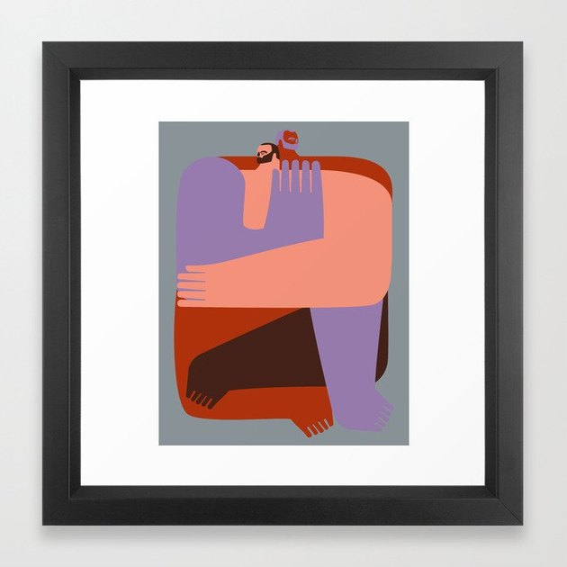 framed art print with two figures in different colors