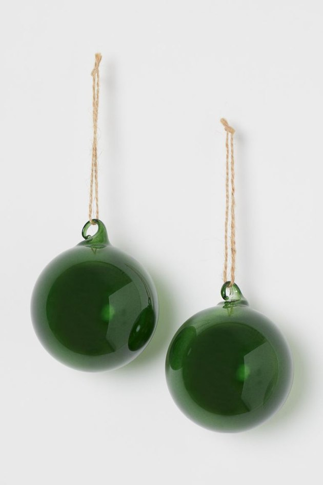 two green ornaments