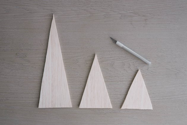 Balsa wood triangles cut out with craft knife