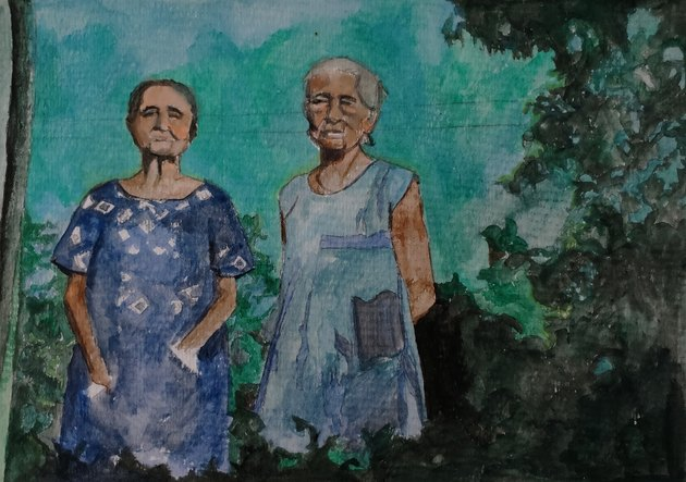Watercolor of two elderly women wearing house dresses outside outside among trees