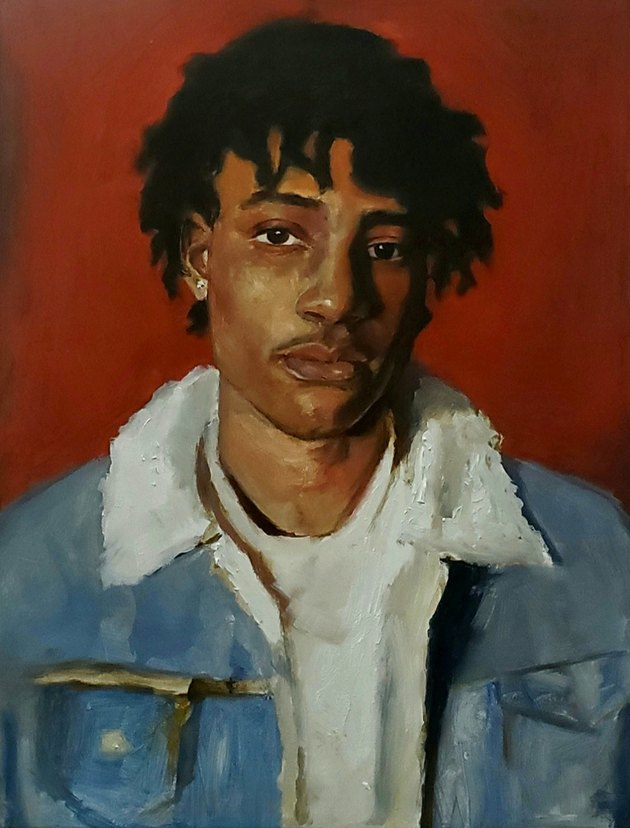 Painted portrait of a young man with short dreadlocks, wearing a white T-shirt and blue jean jacket, against red wall