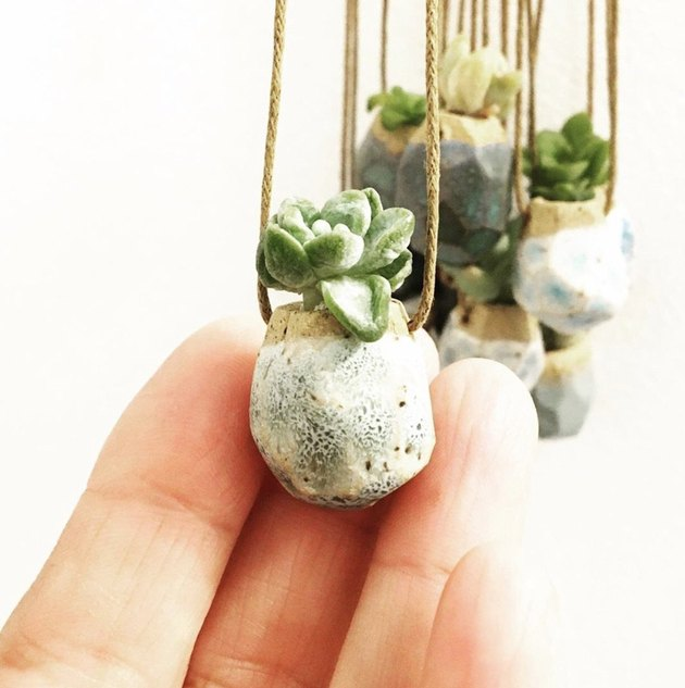 Small planter necklaces with succulent sprigs.