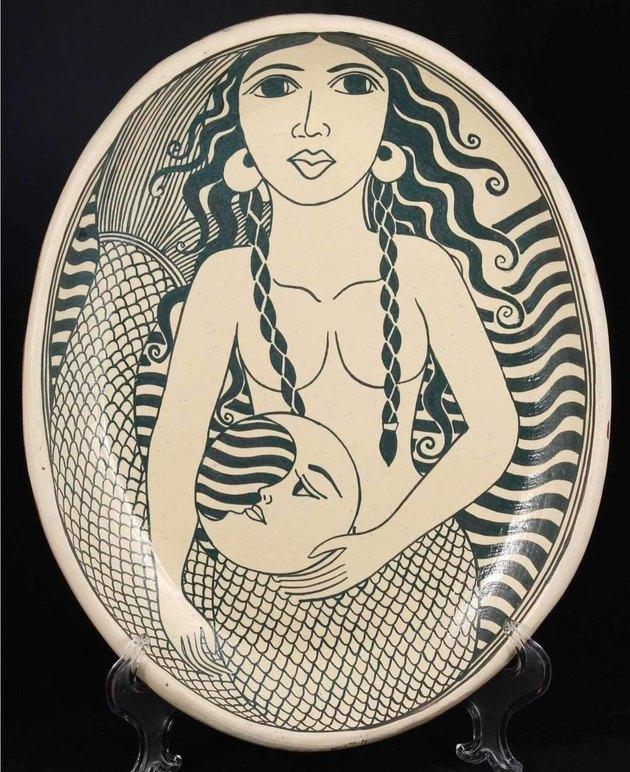 Large ceramic oval mermaid platter