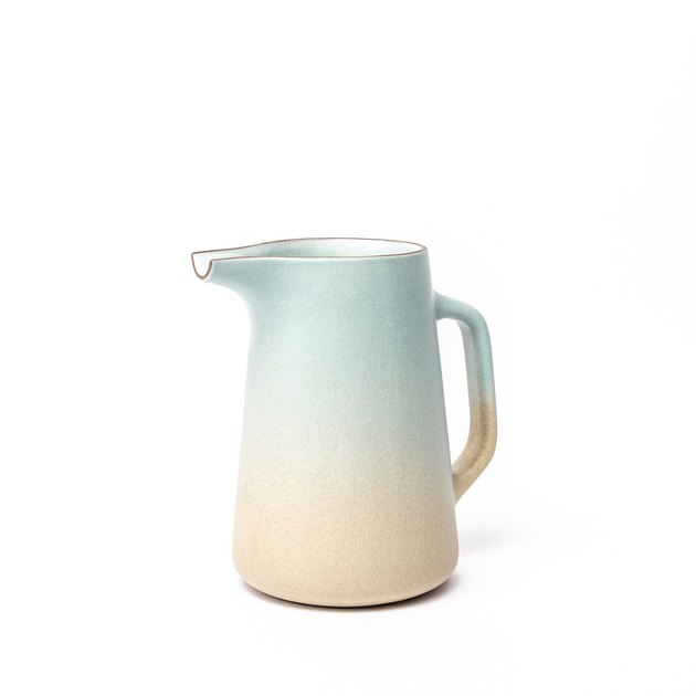 Pitcher with gradient of aqua and barley