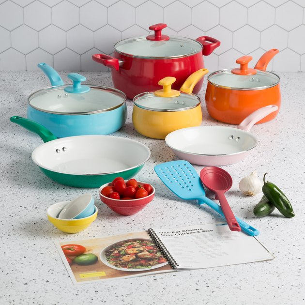 Ceramic cookware set with each item in a different bright color