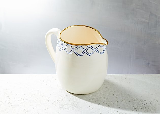 white and blue pitcher