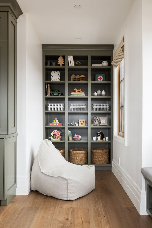 modern Playroom Organization Ideas with olive green built-in storage