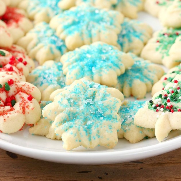 A Kitchen Addiction Classic Spritz Cookies with sprinkles