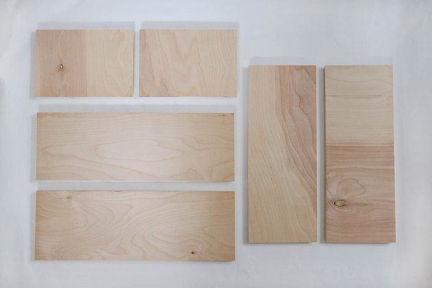 Six wood boards cut to size for dollhouse