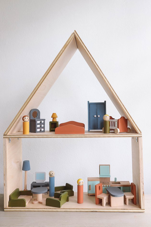 DIY wooden Scandi-style dollhouse with wood dolls and furniture