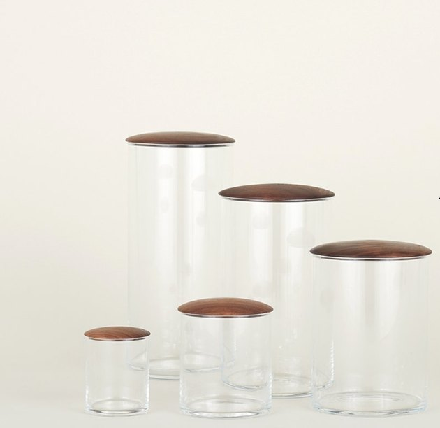 glass food storage containers with wood lids