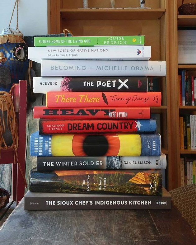 stack of books at Birchbark Books & Native Arts