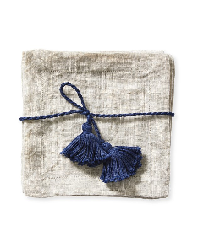 flax linen cocktail napkin with navy tassel