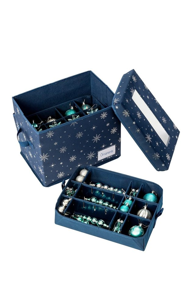Blue ornament storage box with snowflake pattern