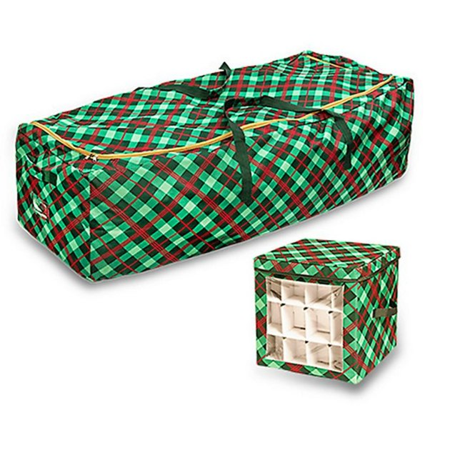 Plaid Christmas tree container and matching ornament storage cube